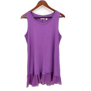 LOGO Lori Goldstein Purple Sleeveless Tunic Top S